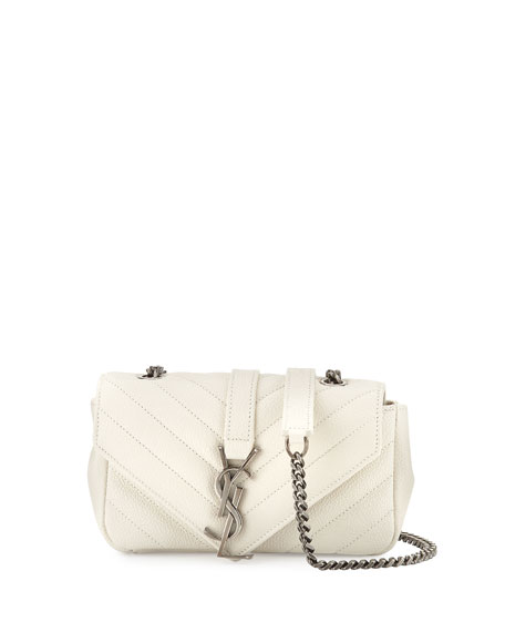 Saint Laurent V Flap Calfskin Leather Mini Crossbody Chain Bag, White