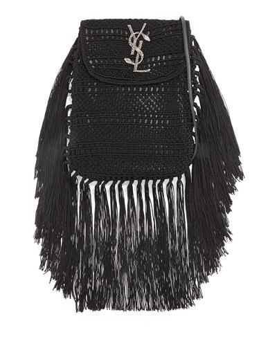 Anita Fringe Crochet Leather Small Crossbody Bag, Black