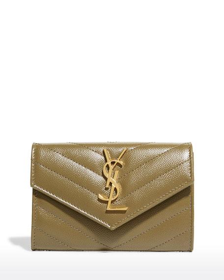 Saint Laurent Mini V-Flap French Wallet, White