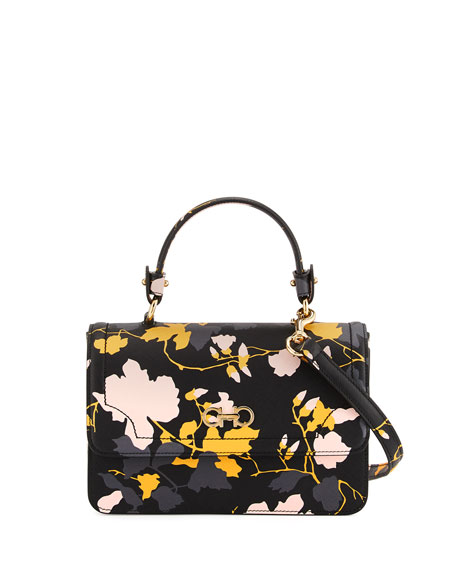 Gancini Icona Floral Satchel Bag, Nero/Pollen/Fume/Bonbon