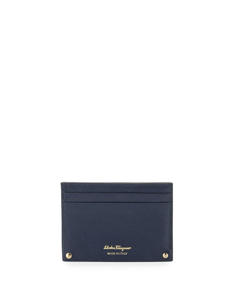 Saffiano Card Case, Oxford Blue