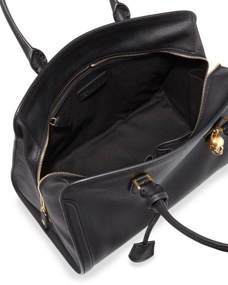 Calfskin Padlock Satchel Bag, Black