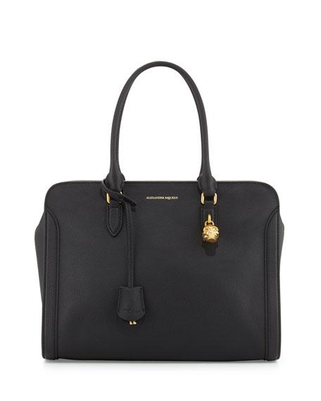 Alexander McQueen Calfskin Padlock Satchel Bag, Black
