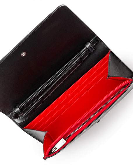 Macaron Spiked Flap Wallet, Black