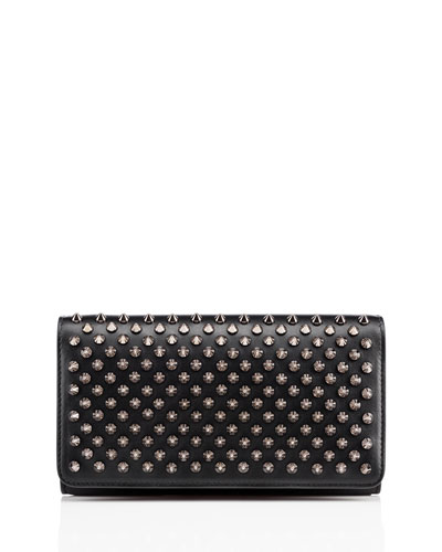 Macaron Spiked Flap Wallet, Black