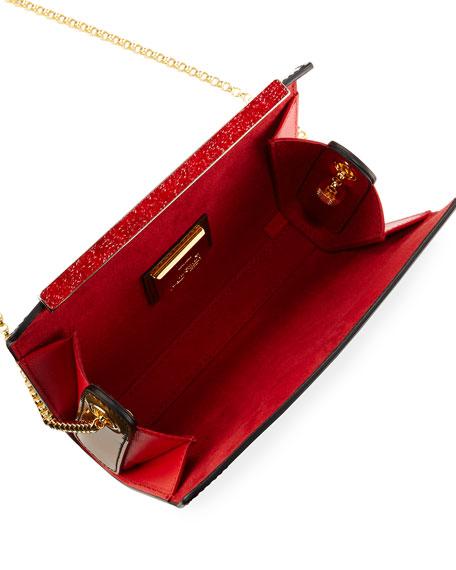 Vanite Small Printed Patent Clutch Bag, Green