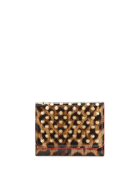 Christian Louboutin Macaron Mini Patent Spiked Flap Wallet,