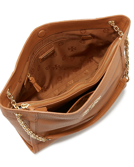 Britten Small Leather Tote Bag, Bark