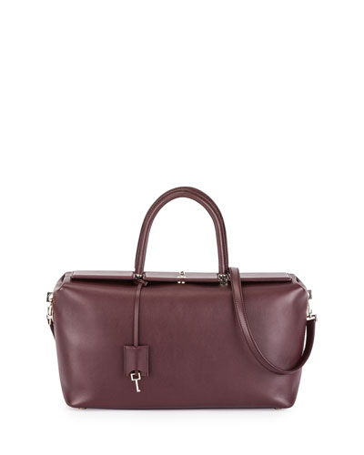 India Medium Leather Satchel Bag, Wine