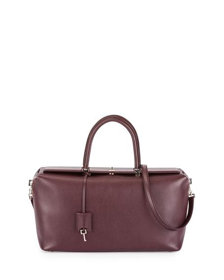 TOM FORD India Medium Leather Satchel Bag, Wine