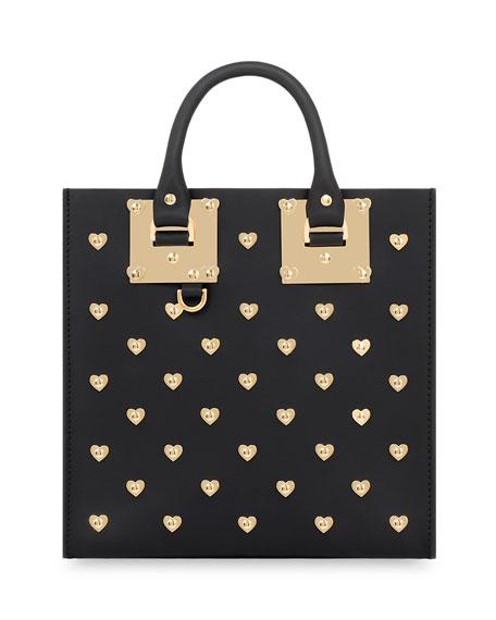 Square Albion Hearts Leather Box Tote Bag, Black