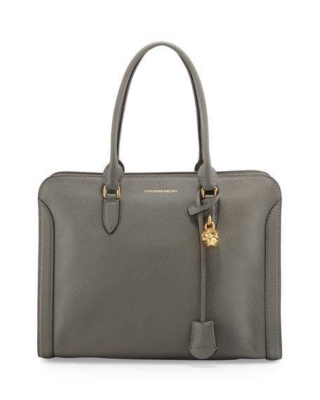 Alexander McQueen Calfskin Padlock Satchel Bag, Dark Gray