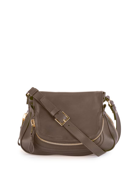 TOM FORD Jennifer Medium Calf Shoulder Bag, Graphite