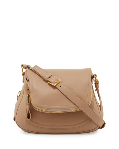 Jennifer Medium Leather Shoulder Bag, Blush