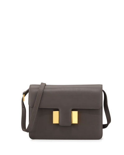 Sienna Small Leather T-Buckle Crossbody Bag, Graphite