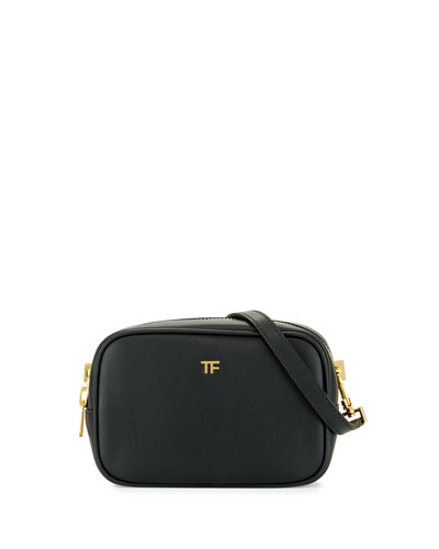 TF Leather Camera Bag with Crossbody Strap, Black
