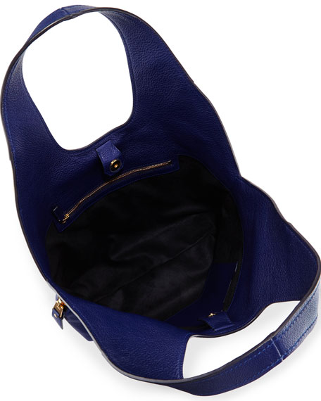 Jennifer Side-Zip Leather Hobo Bag, Cobalt