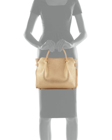 Marche Small Embossed-Leather Tote Bag, Gold Metallic