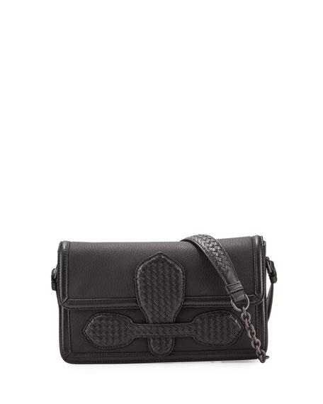 Bottega Veneta Small Half-Flap Tab-Buckle Shoulder Bag, Black