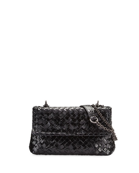 Bottega VenetaBaby Olympia Long-Chain Snake Shoulder Bag, Black