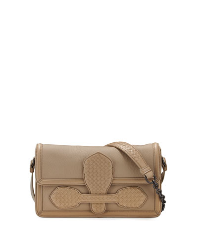 Small Half-Flap Tab-Buckle Shoulder Bag, Toffee