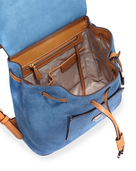 Romey Medium Suede Backpack, Denim