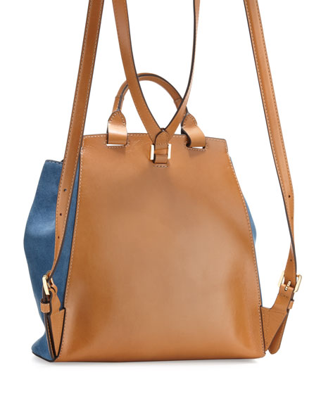 Romey Medium Suede Backpack, Denim