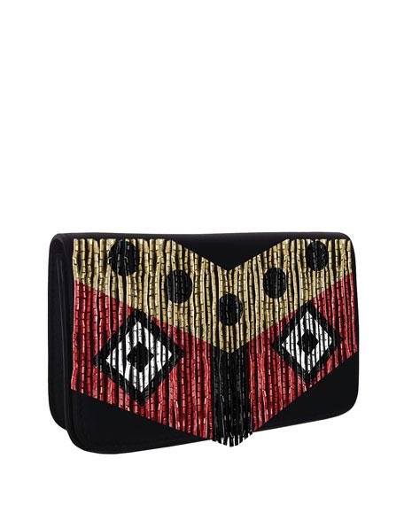 Micro Janis Disco Fringe Clutch Bag, Black