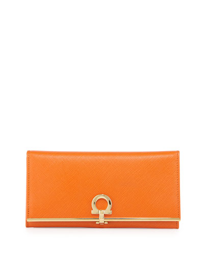 Icona Continental Flap Wallet, Orange