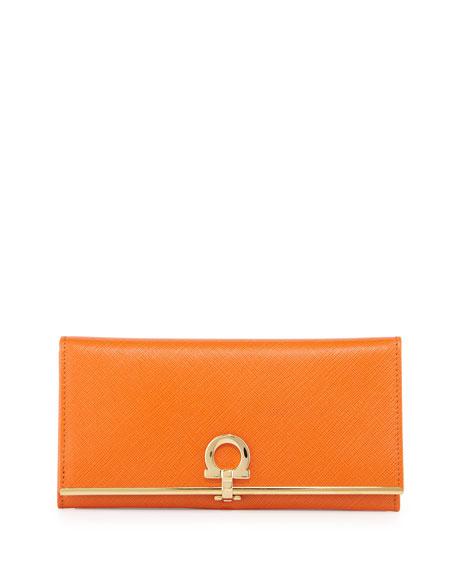 Salvatore Ferragamo Icona Continental Flap Wallet, Orange