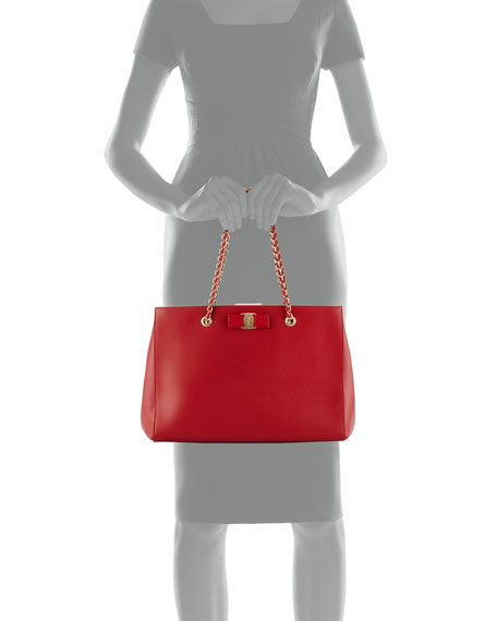 Leather Tote Bag, Rosso