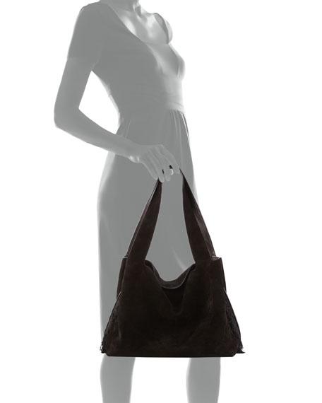 Duplex Suede Satchel Bag, Black
