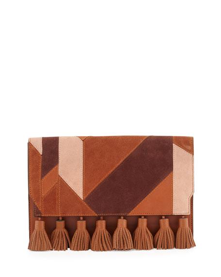 Sofia Leather Tassel Clutch Bag, Almond