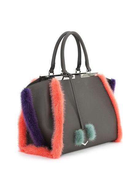 3 Jours Fur-Trim Leather Satchel Bag, Gray/Purple/Blue