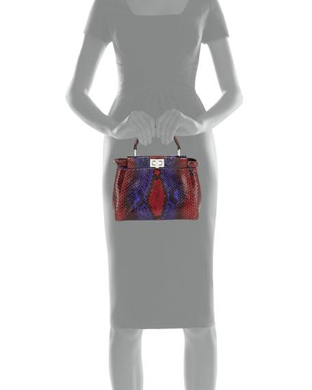Peekaboo Micro Painted Python Satchel Bag, Red/Purple