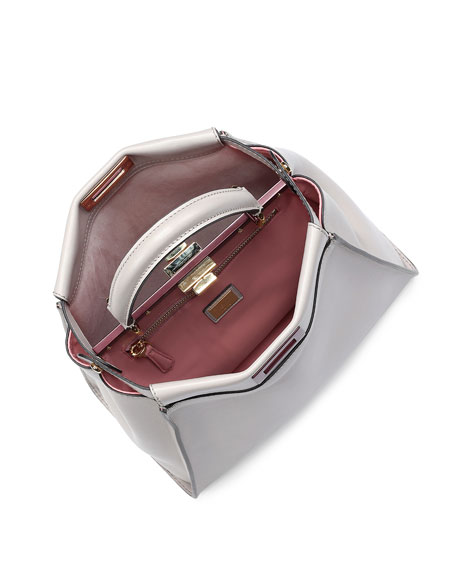 Peekaboo Medium Bicolor Tote Bag, Light Gray/Soft Pink