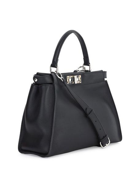 Medium Granite Resin Bar Peekaboo Satchel Bag, Black