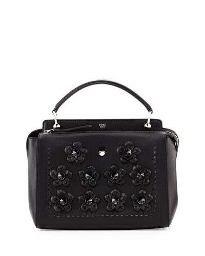 DOTCOM Medium Flowers Satchel Bag, Black