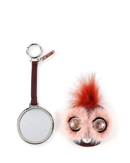 Fendi Monster Mixed-Fur Mirror Charm for Handbag, Pink/Rust
