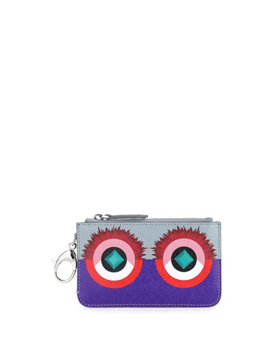 Monster Print Key Ring Pouch, Purple/Blue/Red