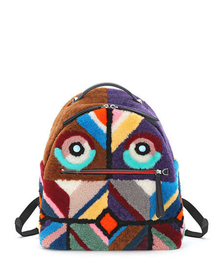 Mixed-Fur Geometric Monster Backpack, Multi Colors