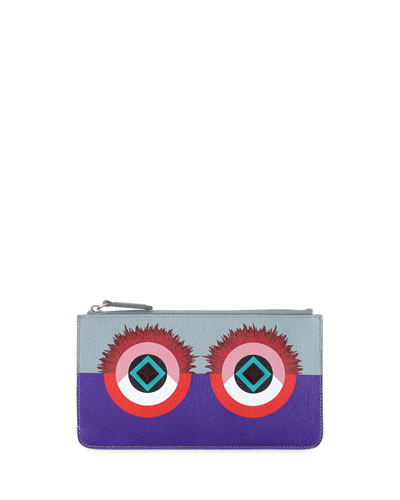 Monster Eye Leather Flat Pouch, Purple/Blue/Red