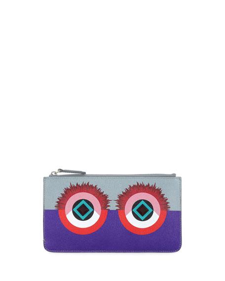 Fendi Monster Eye Leather Flat Pouch, Purple/Blue/Red