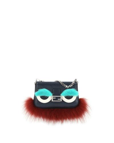 Baguette Micro Monster Bag, Navy/Orange