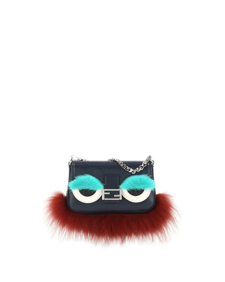 Fendi Baguette Micro Monster Bag, Navy/Orange