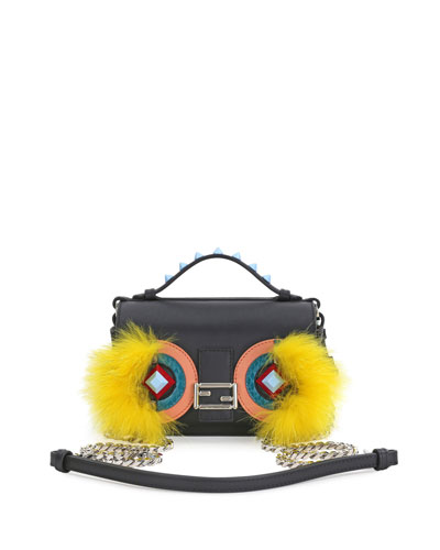 Baguette Micro Double-Sided Monster Crossbody Bag, Black/Yellow
