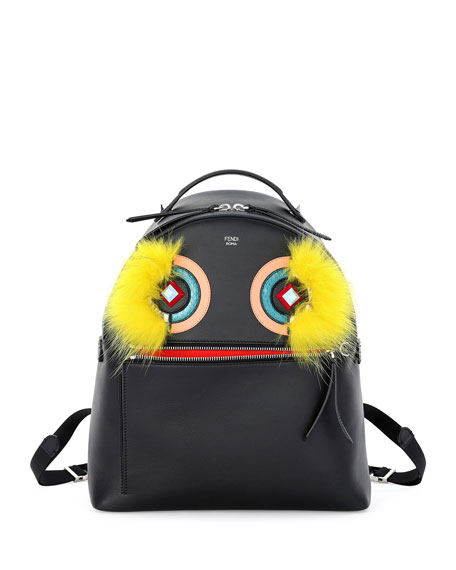 Fendi Large Monster Fox-Fur Backpack, Black