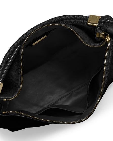 Skorpios Woven-Trim Hobo Bag, Black