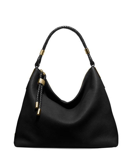 Skorpios Woven-Trim Hobo Bag, Black