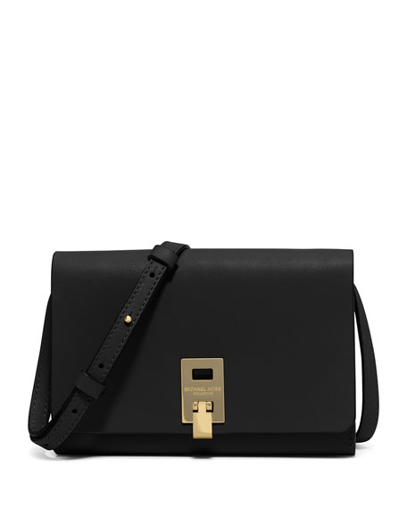 Michael Kors Collection Miranda Medium Wallet-on-a-Strap, Black